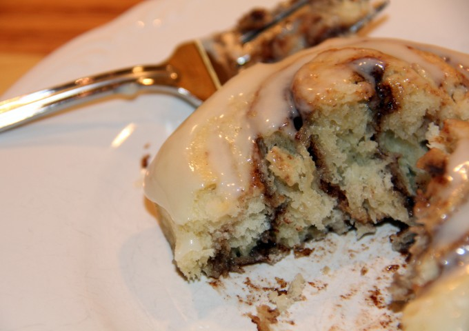 Cinnamon Rolls without yeast—filled with brown sugar and cinnamon and topped with cream cheese icing!