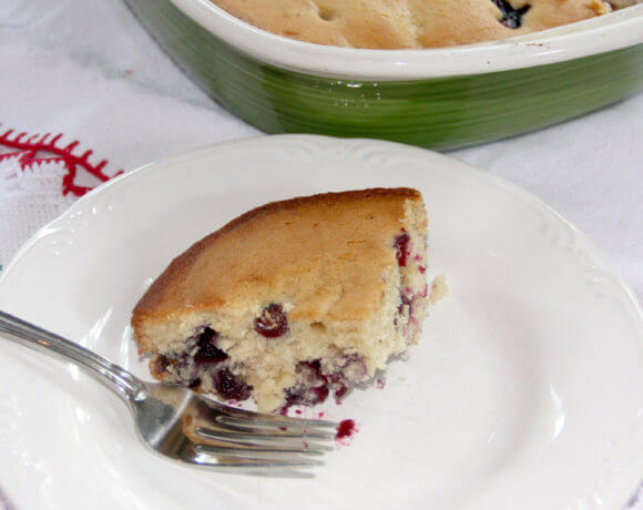 Blueberry breakfast cake made with fresh blueberries and super moist from buttermilk. It's quick and easy!