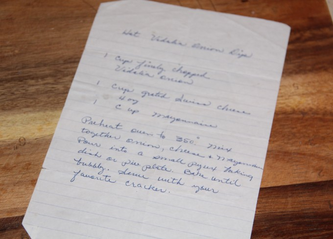 Vidalia Onion Dip handwritten recipe