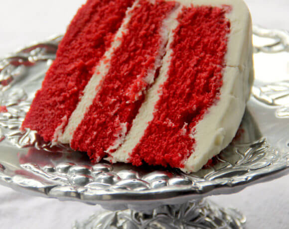 Southern Red Velvet Cake with cream cheese frosting--it's sweet, tangy, moist, and a family favorite!