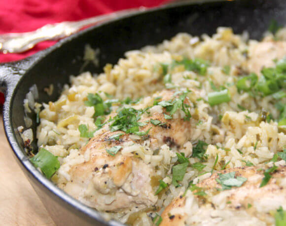 Mexican Chicken and Rice with green onions and cilantro--it's a quick and easy weeknight meal!