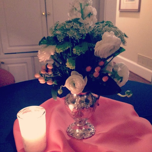 Flowers from the wedding shower for @bharris1229 and @crawlins45  arranged by the amazing @memamkb ? next up Rehearsal Dinner at Enterprise Mill @fatmanscafe #augusta #weddings #enterprisemill #flowers