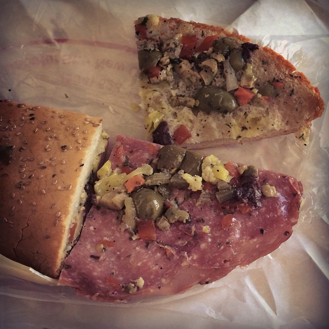 The best muffaletta from Central Grocery. #muffaletta #neworleans #centralgrocery