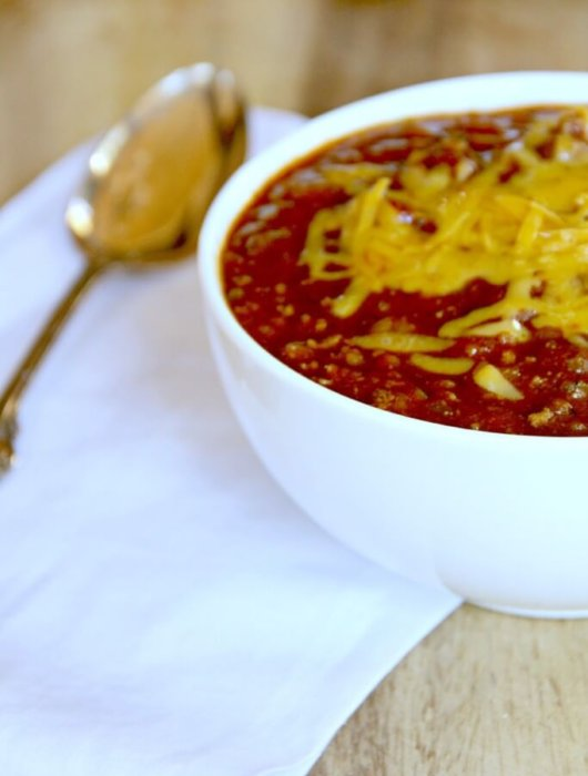 bowl of simple chili