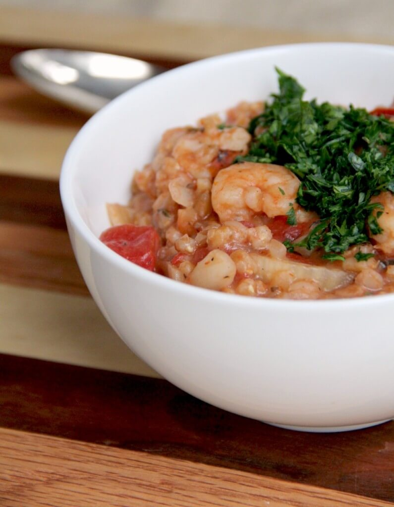 shrimp and farro risotto