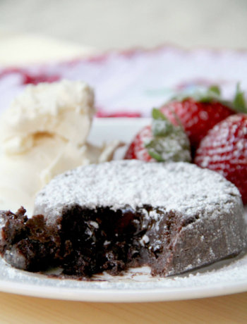 Chocolate Molten Lava Cake with bittersweet chocolate and cocoa has a luscious, gooey, chocolate center and can be made ahead!