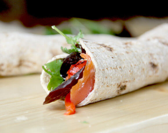Smoked Salmon with Roasted Red Peppers Wrap