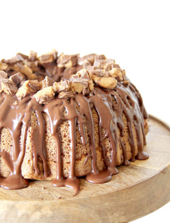 Peanut Butter Pound Cake topped with chocolate glaze and covered in Reese's Peanut Butter Cups.