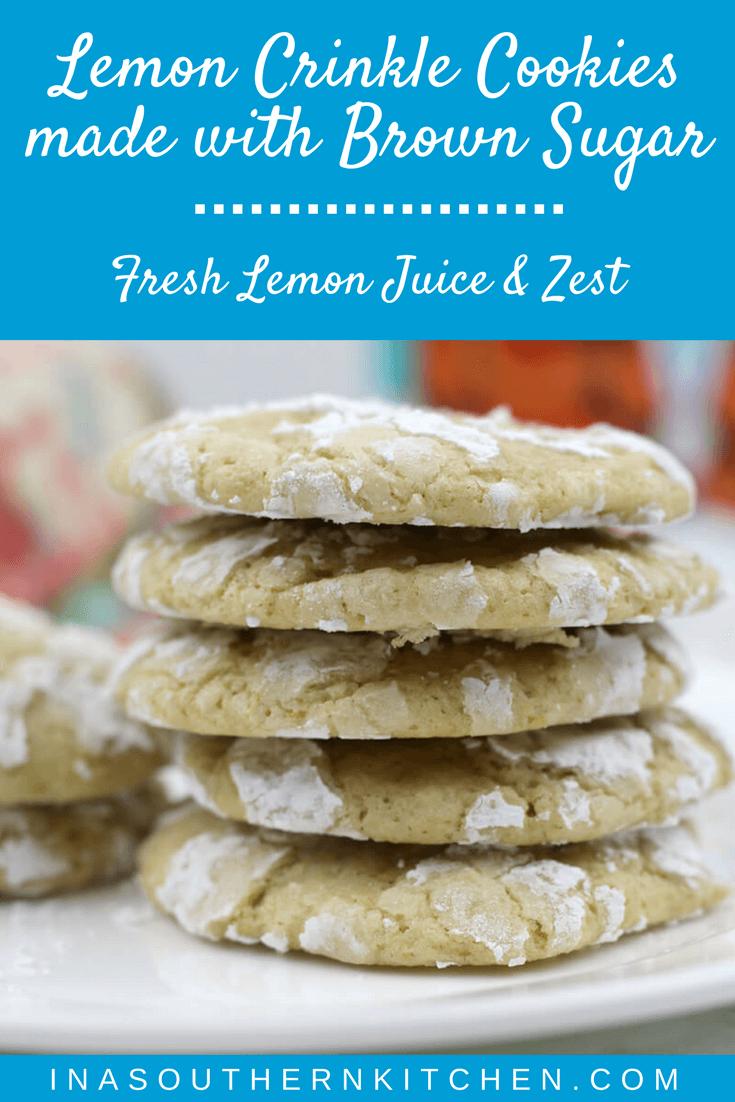 Lemon Crinkle Cookies with fresh lemon zest and juice and a nice addition of brown sugar.