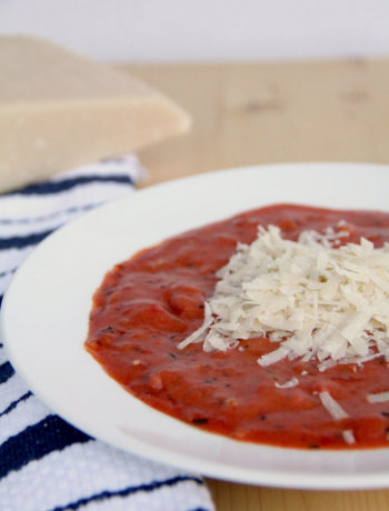 Easy Tomato Soup—with dried herbs, fresh onion, and canned tomato and a touch of cream!