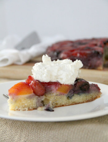 Slice of Peach and Blueberry Upside Down Cake