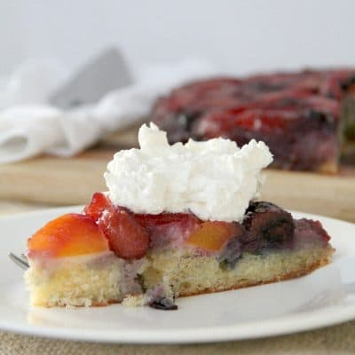 Peach and Blueberry Upside-Down Cake