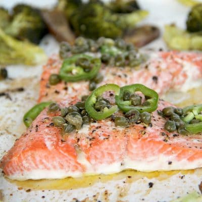 Baked Salmon with Chile-Caper Vinaigrette