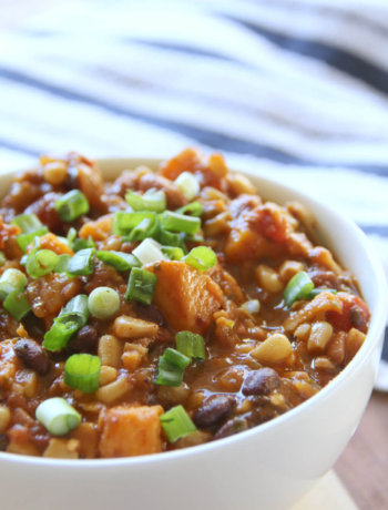 Slow Cooker Vegetarian Chili--sweet potatoes give this chili unique flavor and more substance!