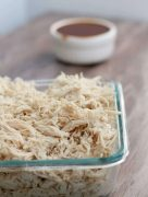 Shredded Crockpot Chicken is so easy and gives you enough shredded chicken to freeze and save for several meals.