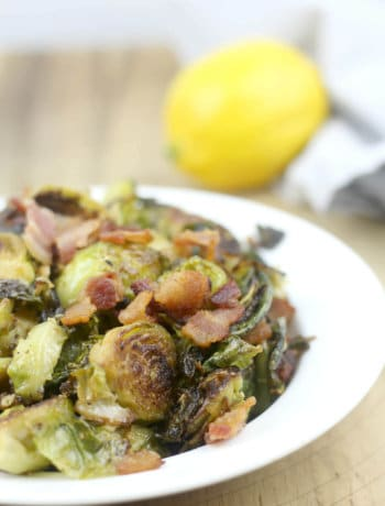 Brussels sprouts sauteed and topped with a lemon and Dijon vinaigrette, then sprinkled with Parmesan cheese and bacon—a new twist on a favorite vegetable!