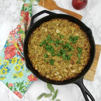 Skillet Cornbread Dressing with Pear, Sage, and Bacon