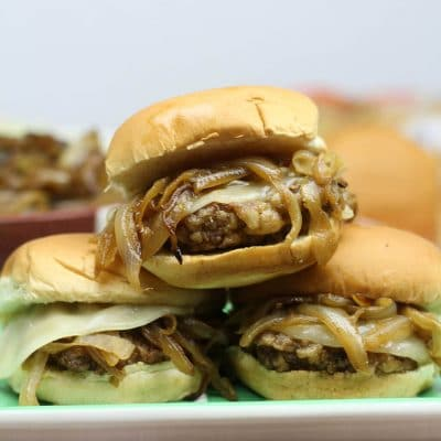 Country Fried Steak Sliders with Caramelized Onions
