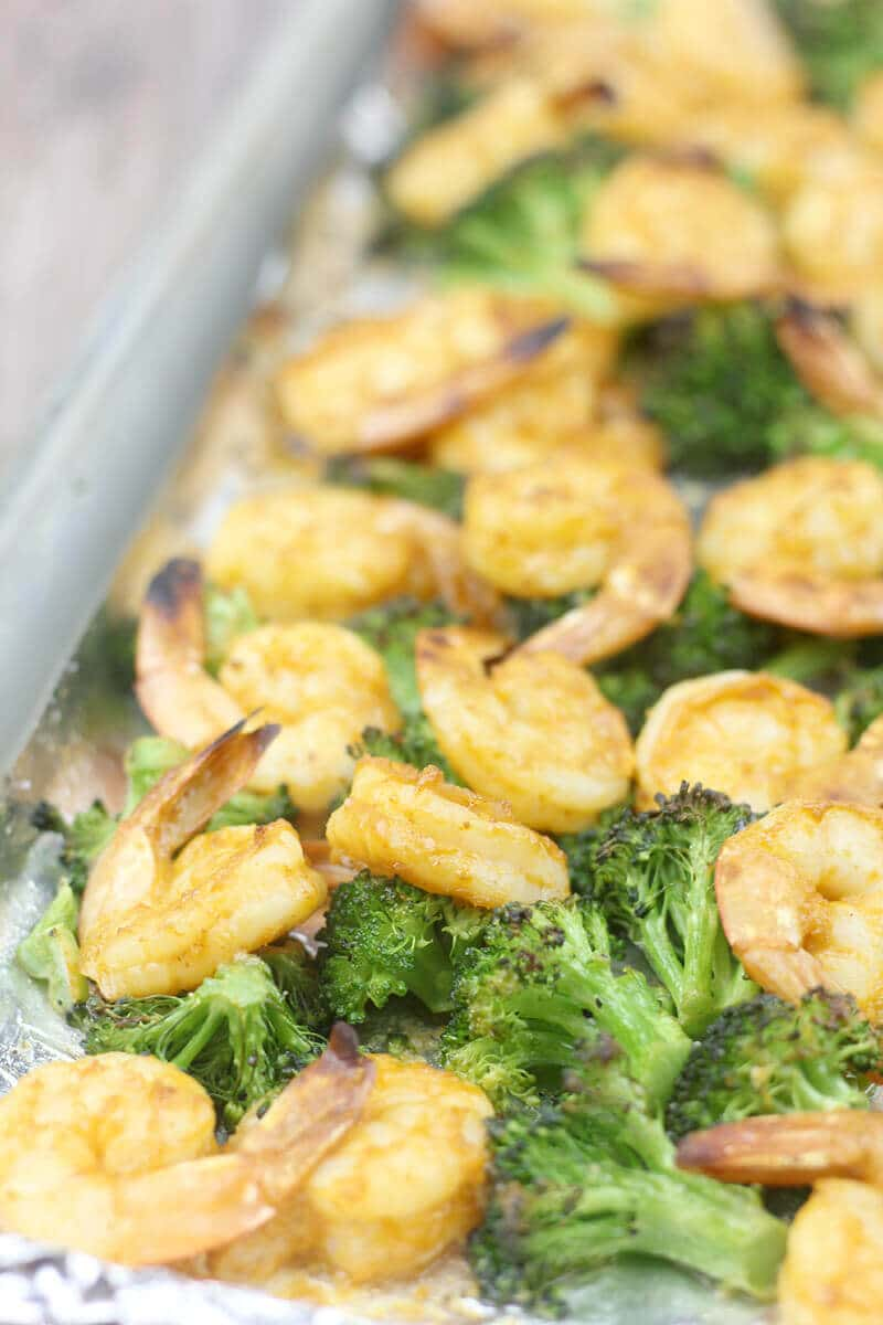 Broiled Shrimp with Vegetables cooks on one baking sheet.