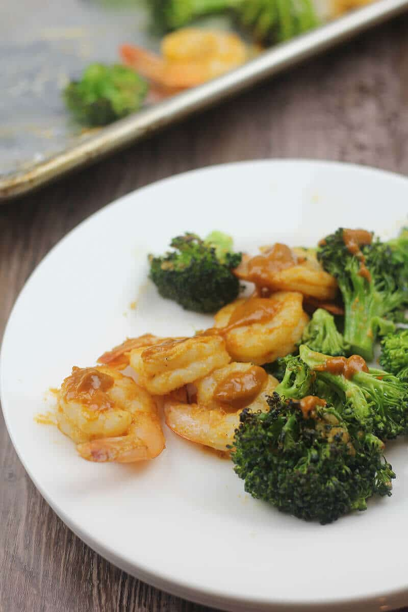 Spicy peanut sauce on Broiled Shrimp with Vegetables.