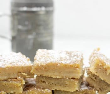 Chess Squares are an easy variation of Chess Pie, with a buttery shortbread crust and a sweet chess pie filling.