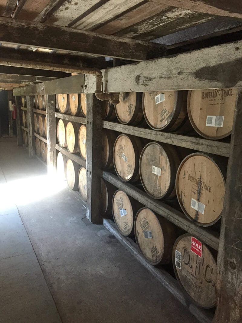 Kentucky Travel Guide showing Barrels in storage at the Buffalo Trace Distillery.
